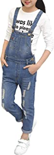 Girls Big Kids Distressed Denim Overalls Blue Long Ripped Holes Jeans Romper 1P
