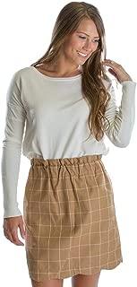Flannel Scallop Skirt in Camel Final Sale