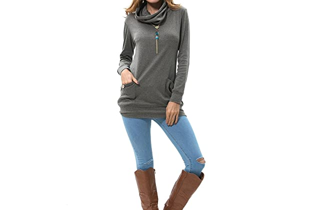 3feac11ddc36c levaca Womens Long Sleeve Button Cowl Neck Casual Slim Tunic Tops with  Pockets