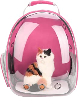 Pet Cat Backpack Capsule Space Bubble Dome Carrier Cage Transparent Breathable Portable Carrying Bag 1Pc (Rose Pink)