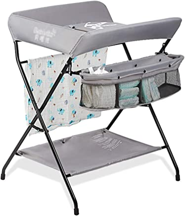 LXF Baby Changing Table for Small Space  Foldable Newborn Changing Dressing Massage Station Organizer  Gray  Size 80x66x93cm