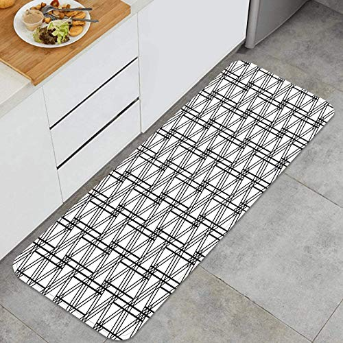 Kitchen Mat Cushioned Anti-Fatigue Carpet Inspired by Japanese Woodworking Style Kumiko zaiku.Black and White Non-Slip Floor Decor Rugs for Office, Sink, Laundry-120cm x 45cm