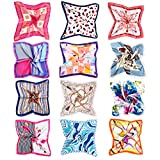 Vbiger 12pcs Women Small Square Satin Scarf Mixed Neck Head Scarf Set 19.7 x 19.7 inches (Set 3)