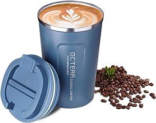 OCTERR マグカップ 保温 コーヒーカップ コンビニカップ 携帯マグ 保冷 タンブラー 真空断熱 ステンレス製 蓋付き 持ち運び 直接ドリップ プレゼントに 380ML ブルー