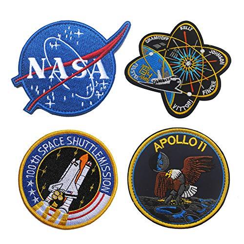 Parche tctico militar de la NASA con logotipo de Apolo espacial, insignia tctica bordada, para disfraz de hombro o motocicleta, para viajes, mochila, sombreros, chaquetas (4 unidades)