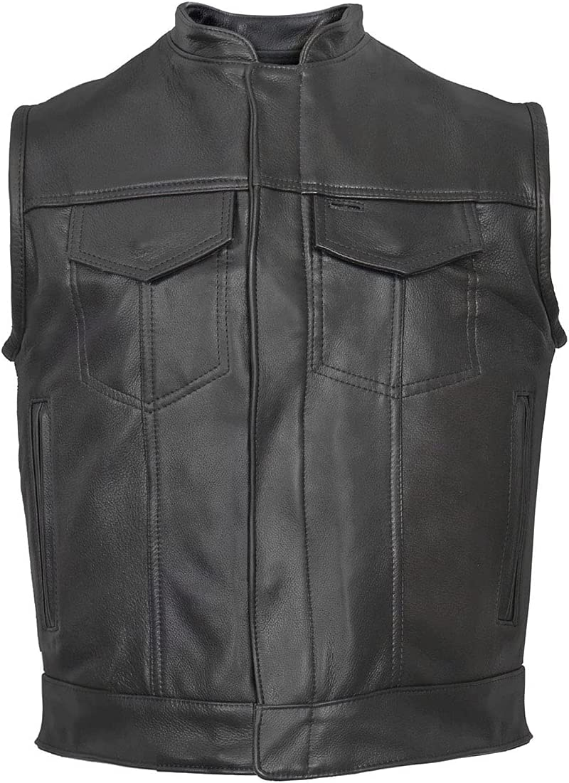 Hot Leathers VSM5004 Men's USA Made Covered Zipper Premium Leather Vest - 3X-Large