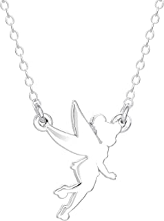 """Tinkerbell Sterling Silver Fairy Silhouette Pendant Necklace; 18"""" Chain"""