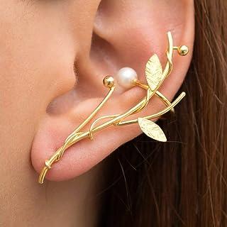 Oro elfo oreja brazalete pendiente, statement pendiente, brazalete de la oreja de la boda, aretes de oro escalador de oreja, correa eslabonada del oído, pendiente de oro ramita, statement earcuff