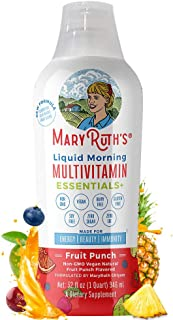 Immunity Morning Liquid Multivitamin + Zinc + Elderberry + Organic Whole Food Blend by MaryRuth`s (Fruit Punch) Vitamin A B C D3 E Trace Minerals & Amino Acids 100% Vegan - Men Women Kids 0 Sugar 32oz