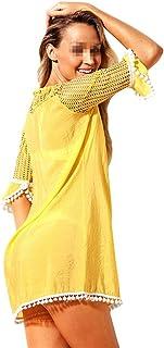Lumeng Cubierta de Playa para Mujer Traje de baño para Mujer Cubierta con Cuello en v Encaje Crochet Gasa Borla Bikini Recortar Traje de baño Playa Cubrir (Color : Amarillo, tamaño : XL)