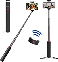 Hantun Selfie Stick Tripod, 3 in 1 Extendable Bluetooth Selfie Stick with Wireless Remote Shutter and Fill Light for iPhone Xs/Xs Max/XR/X/8, Galaxy S10/9/8/Note, Google Pixel and All Andriod Phones