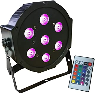 Ultra Bright LED FlatPar 7x10 Watt Quad RGBW SlimPar Light - w/ Remote Control - Up-Lighting - Stage Lights