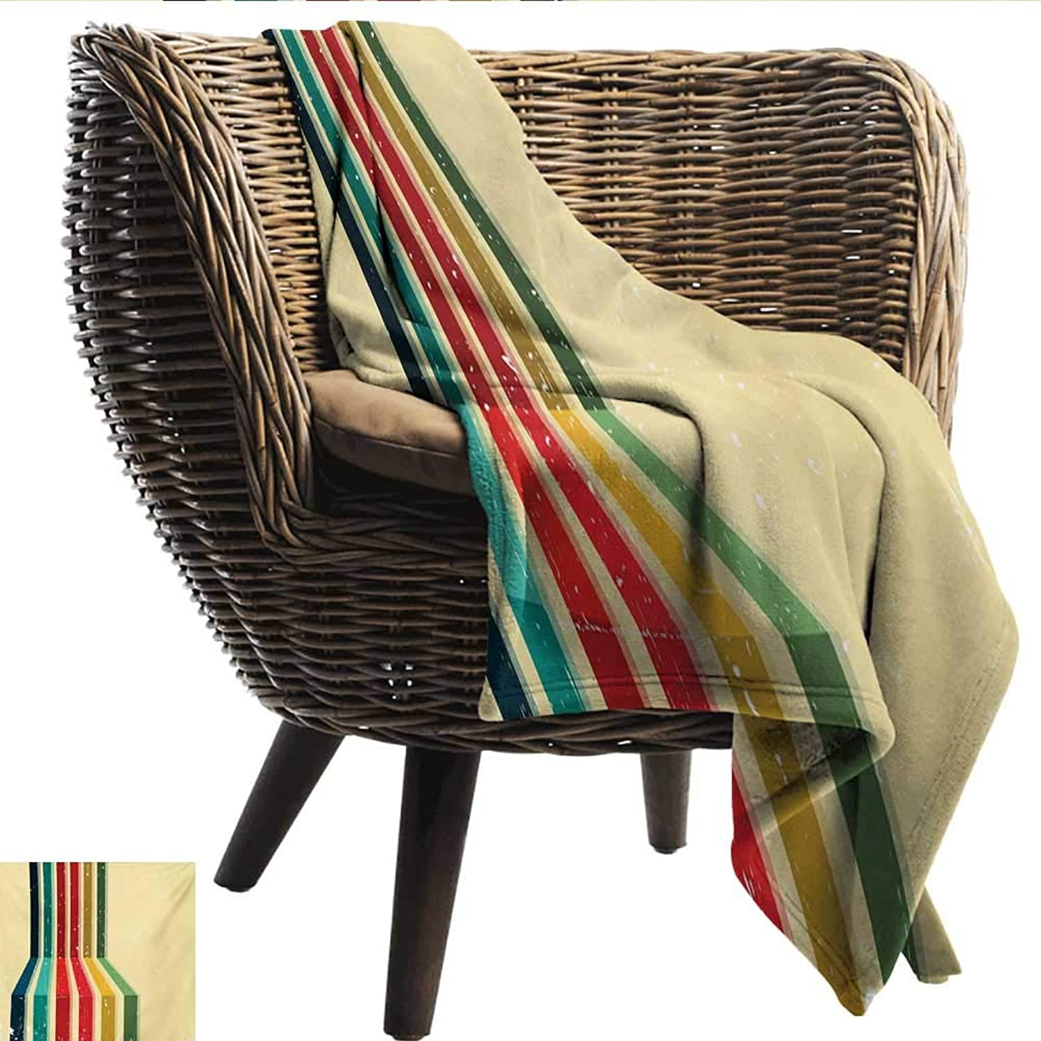 Anshesix Super Soft Blankets Vintage Rainbow greenical colord Stripes with Grunge Effect on a Pale Yellow Background Print Summer Quilt Comforter W60 xL51 Sofa,Picnic,Camping,Beach,Everyday use