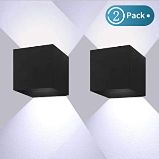 12W*2 Aplique Pared led Blanco 6000K 1000lm Lampara Pared led IP65 Impermeable Apliques Pared Interior Aplique led Lampara Pared Negro