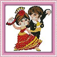 LovetheFamily クロスステッチキット DIY 手作り刺繍キット 正確な図柄印刷クロスステッチ 家庭刺繍装飾品 フレームがない 11CT ( インチ当たり11個の小さな格子)中程度の格子 刺しゅうキット - 27×27 cm インドのダブルダンス