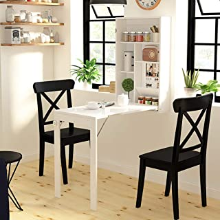 Montage Mural Table Pliable Petit Appartement Blanc Bureau d'ordinateur Moderne Gain de Place Table Armoire Murale