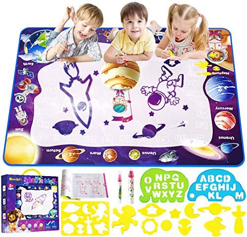 Smarkids Agua Dibujo Pintura, 100x70cm Alfombra de Agua Doodle, Doodle Alfombra Mágica Pizarras de Dibujo Magnética Esteras de Agua Doodle Juegos Juguetes Educativo para Niños Niñas de 3 4 5 6 años
