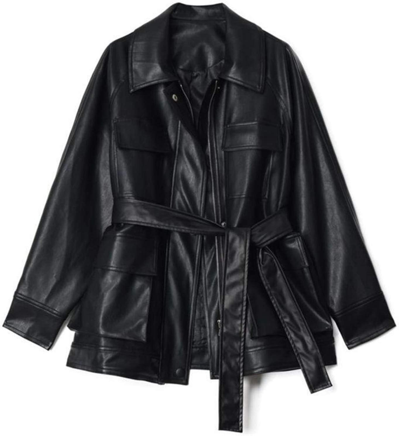 kengbi Jacket Spring Autumn Chic Four Big Pockets Oversized Design Vintage Retro Women Female Pu Leather Jacket (Color : Black, Size : M)