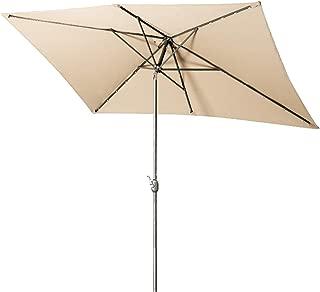 Aok Garden Solar LED Outdoor Umbrella,10x6.5 Feet Rectangular Patio Umbrella with Push Button Tilt and Crank Lift Ventilation,6 Sturdy Ribs Non-Fading Sunshade,Sand …