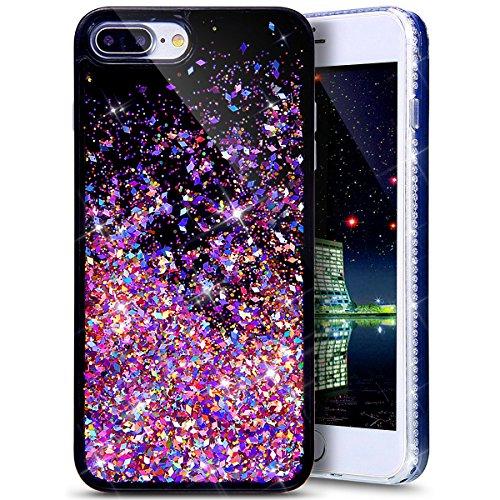 iPhone 8 Plus Case,iPhone 7 Plus Case,PHEZEN Twinkle Glitter Star Liquid Flowing Dynamic Quicksand Luxury Bling Glitter Black Soft TPU Bumper Case for iPhone 8 Plus/7 Plus (Red Diamond)