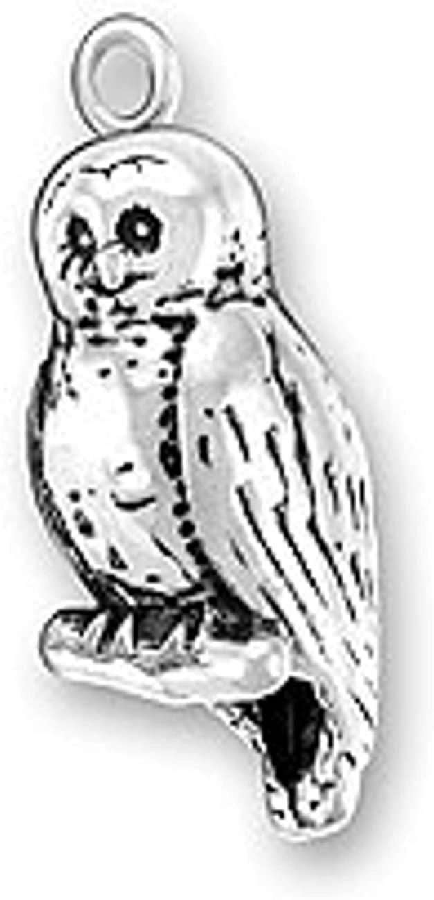 Sterling Silver 3D Bird Hoot Barn Charm Perched Branch Owl On Ranking TOP20 free shipping