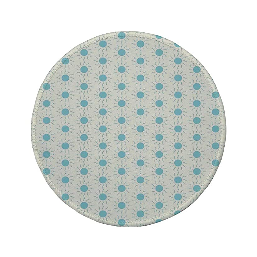 Non-Slip Rubber Round Mouse Pad,Aqua,Blue Sun Shape Circle and Swirl Sweet Aquatic Summer Theme Abstract Design Print,Blue White,11.8