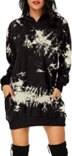 Women's Long Sleeve Hooded Pockets Pullover Hoodie Dress Tunic Sweatshirt
