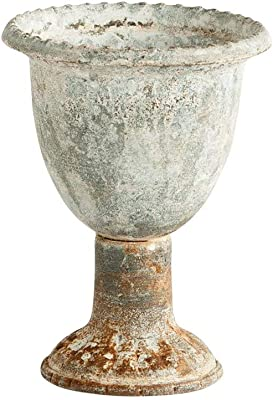 The Bridge Collection Distressed Metal Fluted Urn Planter