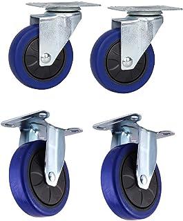 Wielen wiel 100/125mm blauw Rubber Swivel wiel Heavy Duty industriële laadvermogen 400kg, slijtvast, Pack van 4 (Kleur: ri...