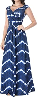 Womens V Neck Ruched Draped Pockets Casual Cocktail Formal A-Line Dress