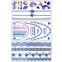 【Day-net】【ブルー3枚セット】Flash Tattoos/フラッシュタトゥー/シャイニングタトゥー/タトゥーシール (21cm×10.2cm) 新色 ブルー 新感覚ジュエリータトゥー 海外セレブに大人気 ①