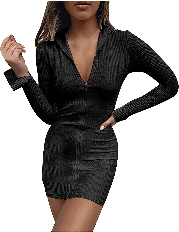 Womens Sexy Y2K Bodycon Dresses Fashion Zip Up Solid Color Long Sleeve Club Night Party Knit Mini Dress Clubwear