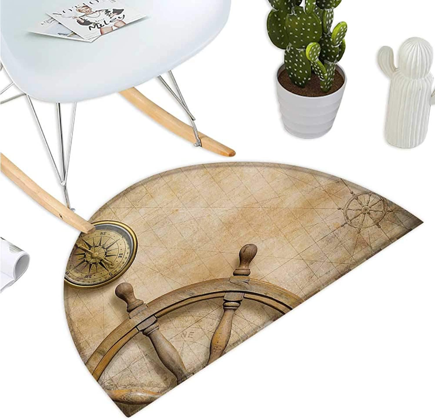Nautical Semicircular Cushion Steering Wheel and Compass Vintage Map Setting Captains Chamber Finding Treasure Print Bathroom Mat H 51.1  xD 76.7  Beige