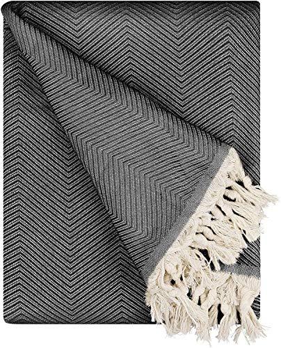 BOHORIA® Premium Tagesdecke Tulum - Bettüberwurf Wohndecke Wendedecke Kuscheldecke Sofadecke mit Muster | extra-groß 170 x 230 cm (Obsidian)
