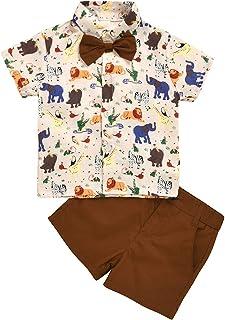 Tianhaik - Pantalones cortos para niños con estampado de manga corta y pajarita + pantalones cortos puros para verano