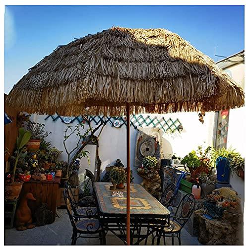 MXBC Sombrilla De Jardín Paraguas Al Aire Libre 6.5 Pies De Paja Tiki, Sombrilla Estilo Hawaiano Sombrilla De Playa Ajustable para Jardín Residencial Fiesta Café Color Natural