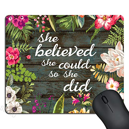 SSOIU Gaming Mouse Pad She Believed She Could So She Did Inspirational Quotes, Vintage Floral Rustic Wood Motivational Quote Mouse Pads for Computers