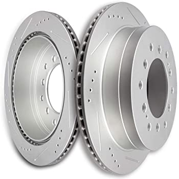 2008 2009 Fit Lexus GX470 Slotted Drilled Rotor w//Metallic Pads F
