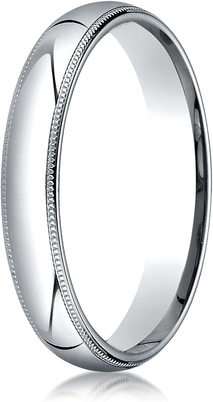 Men's 14K White Gold 4mm Slim Profile Comfort Fit with Milgrain Wedding Band Ring