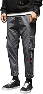 Mens Fashion Casual Loose Cotton Nine-Minute Haren Trousers Overalls Pants