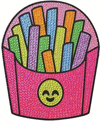 """iscream Sparkly Rhinestone Happiest Rainbow French Fries 6"""" Vinyl Cling Decal"""