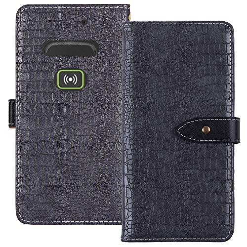 YLYH HandyHülle Für Doro Secure 580IUP Leder Tasche Cover Flip Brief Schütz Hülle Abdeckung Case Etüi Standfunktion Grau