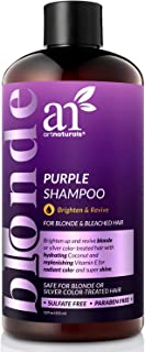 ArtNaturals Purple Shampoo for Blonde Hair - 12oz Sulfate Free & No Parabens Protects & Balances Color Tones Gray, Silver, Brunette, Highlights, Dyed or Bleached Hairs - Prevents Brassy Yellow