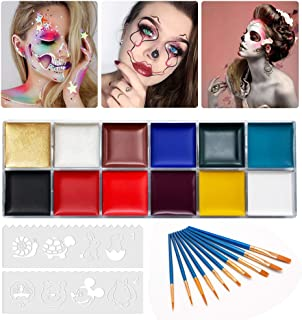 12 Color Face Body Paint Kit, Professional Face Painting Kit for Kids & Adults - Non-Toxic, Hypoallergenic Paints Palette for Halloween Party Cosplay (#01 (42g / 1.48oz) with 10 Brushes, 8 Stencils)