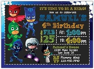 Custom Pj Masks Birthday Party Invitations with White Envelopes