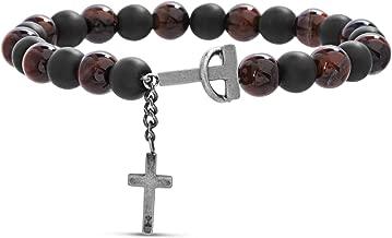 Steve Madden Men's Simulated Brown Tiger's Eye and Black Onyx Cross Charm Beaded Bracelet