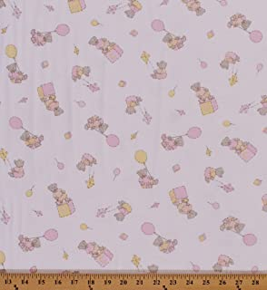 4066aa5ad9e Cotton Blend Jersey Knit Baby Balloon Bears Pink Yellow on White Stretch  Fabric By the Yard