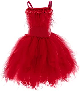 Little Girl Swan Princess Feather Fringes Tutu Dress Pageant Party Wedding Dance Formal Birthday Short Tiered Gown