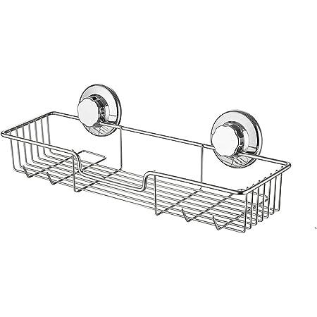 SANNO シャンプーラック シャワーラック 浴室ラック シャンプー置き 壁掛け収納ラック ワイヤーかご お風呂 真空吸着 強力吸盤 ステンレス