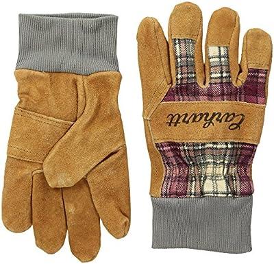 Carhartt Women's Suede Work Glove with Knit Cuff, Wild Rose Plaid, S